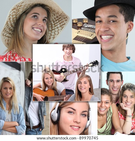 young people smiling and playing guitar, listening music or posing