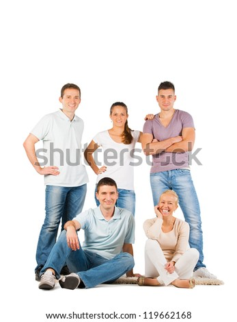 Young people standing and smiling, on white background