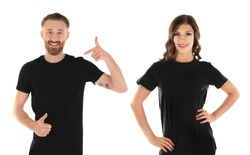 Young people wearing t-shirts on white background