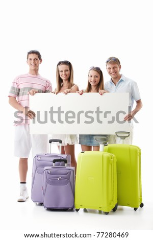 Young people with suitcases and empty billboard on a white background