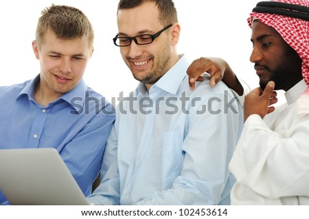 Young people working on laptop at international university - stock photo