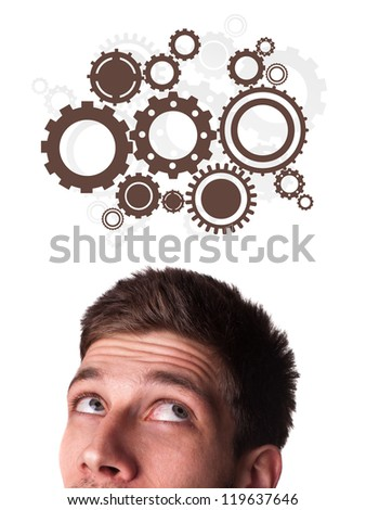 Young person head looking with gesture at idea type of sign
