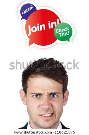 Young persons head looking with gesture at internet type of icons