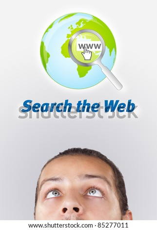 Young persons head looking with gesture at internet type of icons - stock photo