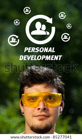 Young persons head looking with gesture at labor type of icons
