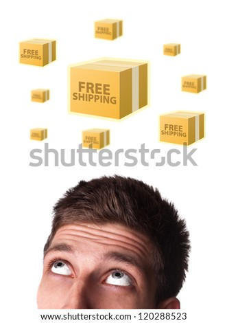 Young persons head looking with gesture at shipping and order signs - stock photo