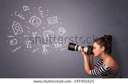 Young photographer girl shooting photography icons