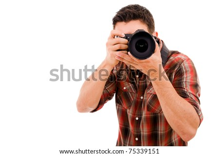 Young photographer with camera isolated on white