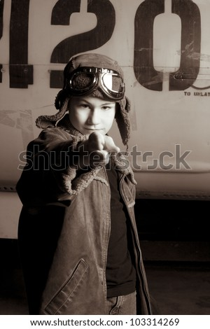 young pilot with goggles...