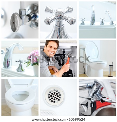Young plumber fixing a sink - stock photo