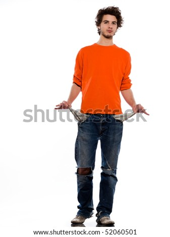 young poor caucasian man portrait in studio on white background