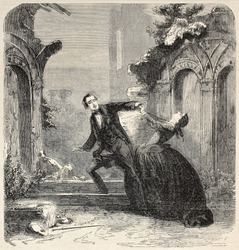 Young poor man romance, theatrical representation, second act. Created by Worms, published on L'Illustration, Journal Universel, Paris, 1858