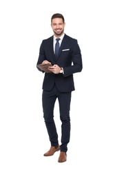 Young positive caucasian businessman holding clipboard, isolated on white, toothy smile