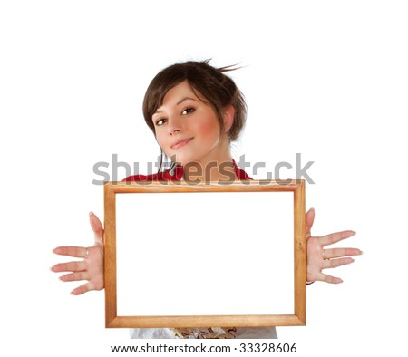 Young positive woman with empty wooden frame in hands