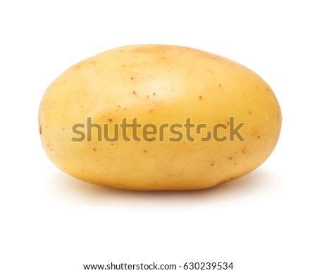 Young potato isolated on white background. Harvest new. Flat lay, top view