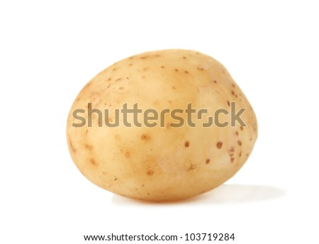 young potato isolated on white close-up