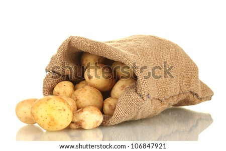 young potatoes in a sack isolated on white close-up