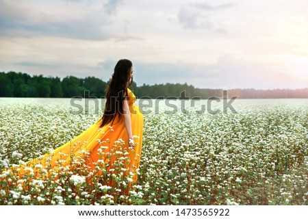 Young pregnant girl in a bright fiery dress walks on a flowering field of buckwheat. Brightly lit by the sun