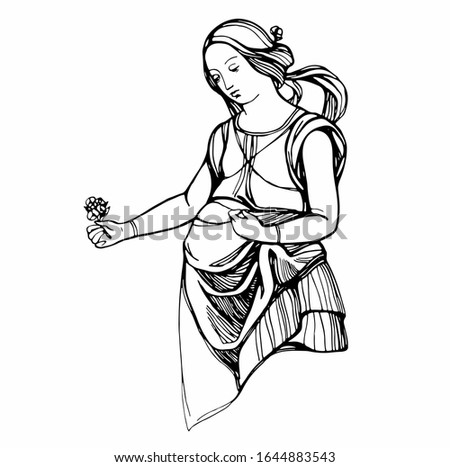 Young pregnant woman with a flower. Hand drawing with paintings by Raphael. Outline. Suitable for printing, cards for Mother's Day, Women's Day. Stock illustration.