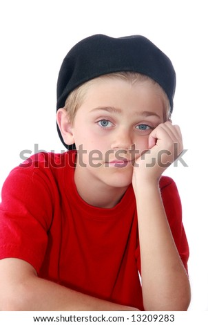 Young preteen boy with bored expression on face, isolated on white ...