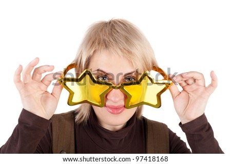 young pretty blond woman in the funny star shape glasses