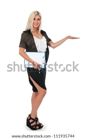 Young pretty business woman over white background