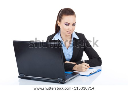Young pretty business woman with notebook prepared to write, looking at the camera. isolated on white