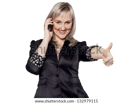 Young pretty businesswoman talking on the phone showing hand ok sign