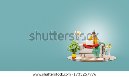 Young pretty female working on laptop computer sitting on a couch at her home office. Studying, freelance and home office concept. Unusual 3d illustration