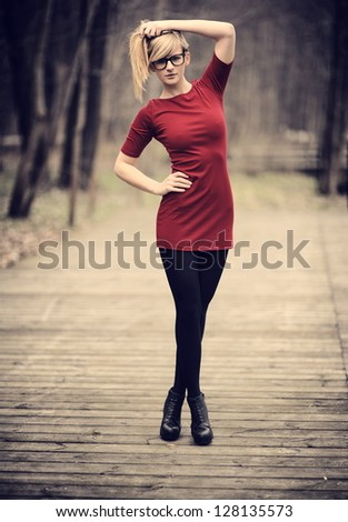 Young pretty girl posing - stock photo