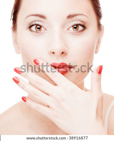Young pretty girl with open hand portrait - stock photo