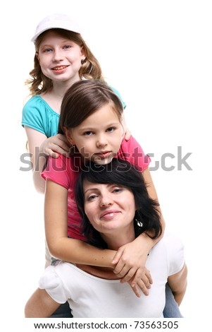 young pretty happy mother with her children