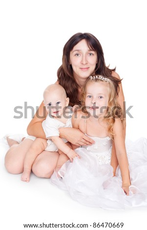 young pretty happy mother with her children isolated on white background - stock photo