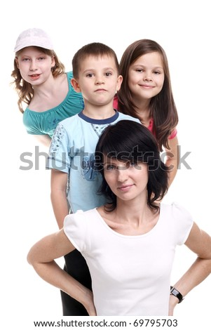 young pretty happy mother with her three children