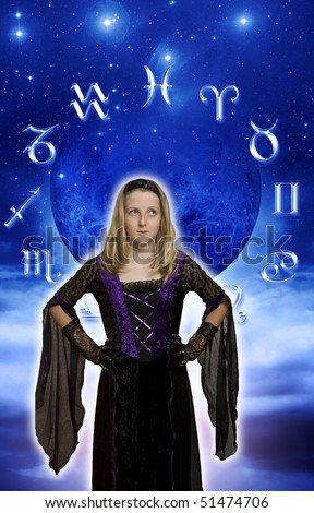 young pretty witch in front of astrological symbols and moon