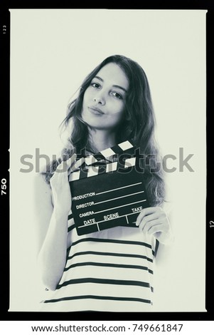 Young pretty woman actress portrait posing for audition black and white analog photography proof mock up #749661847
