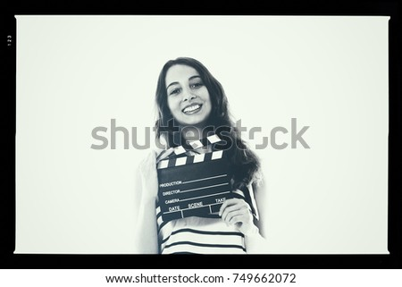 Young pretty woman actress smiling portrait posing for audition black and white analog photography proof mock up #749662072