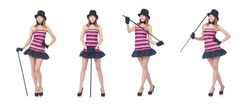 Young pretty woman dancing with walking stick isolated on white