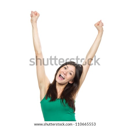 Young pretty woman hands up raised arms, screaming yelling isolated on a white background