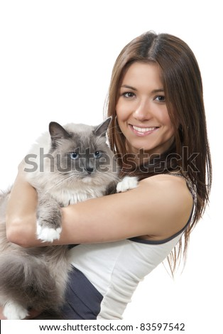 Young pretty woman hold her lovely Ragdoll cat with blue eye isolated on a white background