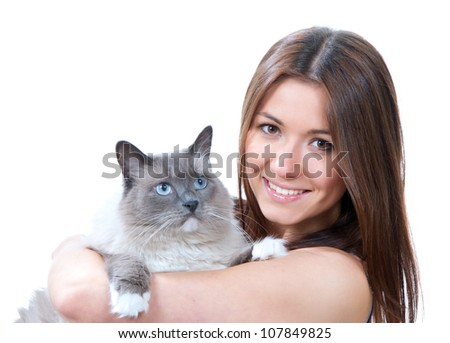 Young pretty woman hold her lovely Ragdoll cat with blue eyes isolated on a white background