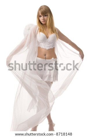 young pretty woman in white sexy underwear and fairy transparent cloak
