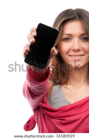 Young Pretty Woman Showing display of her new touch mobile cell phone. Focus on the hand and cellphone.