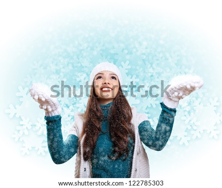 Young pretty woman with lomng hair wearing warm pullover