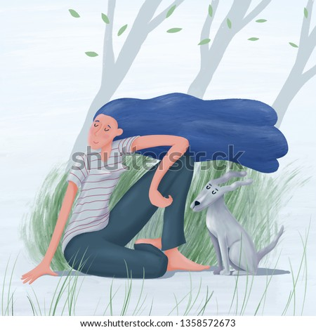 Young pretty woman with long loose hair waving in the wind sitting with her dog enjoying spring summer breeze under trees, stylized raster illustration. Young pretty woman and dog enjoy spring wind