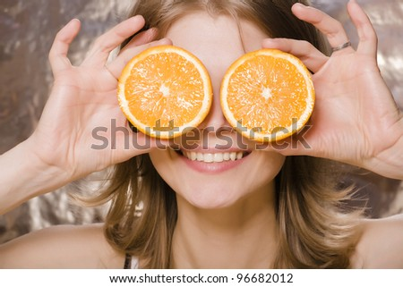 young pretty woman with orange