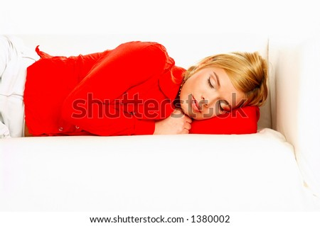 Young Pretty Women Laying On Couch And Sleeping Stock