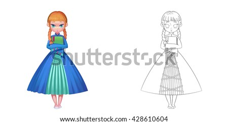 Stock Photo Young Princess Loves Literature. Coloring Book, Outline Sketch, Character Design isolated on White Background