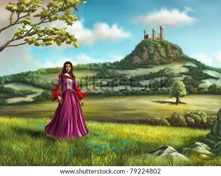 Young princess walking in a beautiful country landscape. A castle overlooks the scene from a nearby hill. Digital illustration.