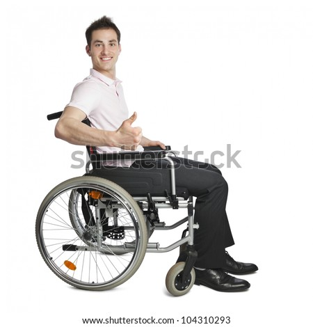 Young professional looking into camera isolated on white with wheelchair